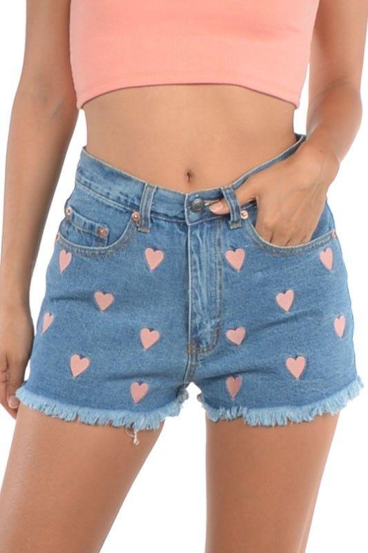 Heart Embroidered Denim Shorts 100% Cotton High Waist
