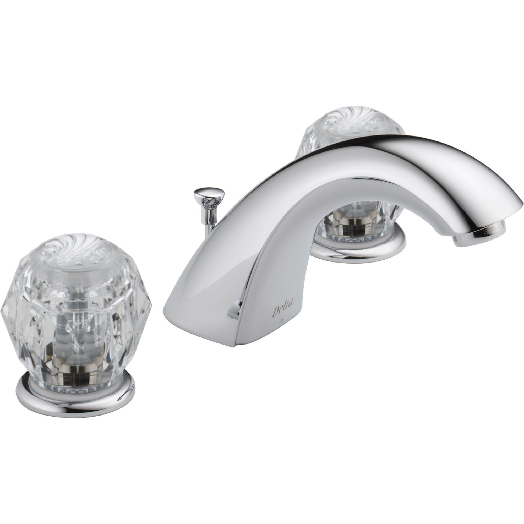 Delta Two Handle Clear Knob Chrome Widespread Lavatory Sink Faucet - Delta bathroom faucet handles