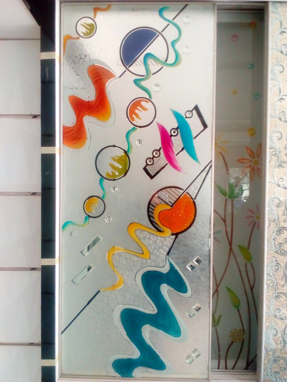 Mirror Design In Color And Texture Door Glass Design Glass Painting Designs Glass Wall Art
