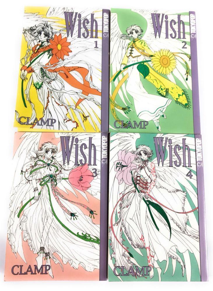 Lot 4 wish manga series set 14 clamp tokyopop anime books