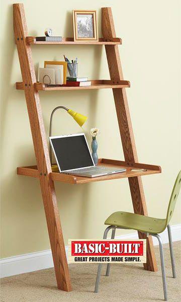 small ladder desk projects easy woodworking diy. Black Bedroom Furniture Sets. Home Design Ideas