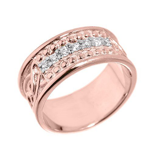 Mens 14k Rose Gold 85mm Celtic Knot Band 7Stone Diamond Wedding Anniversary Ring Size 16