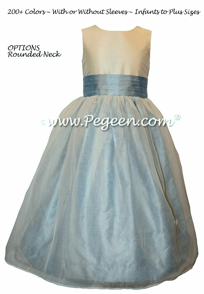 6a42463e38b Caribbean Blue silk and organza Flower Girl Dresses by Pegeen.com ...