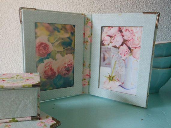 Picture frame of 22 x 14 cm in teal Tilda fabric door Cornsant, €13.50
