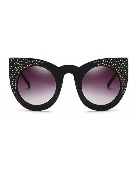 a399c4df804 Retro Bling Cat Eye Round Lens Sunglasses - Black Grey - CW184G0RIOM ...