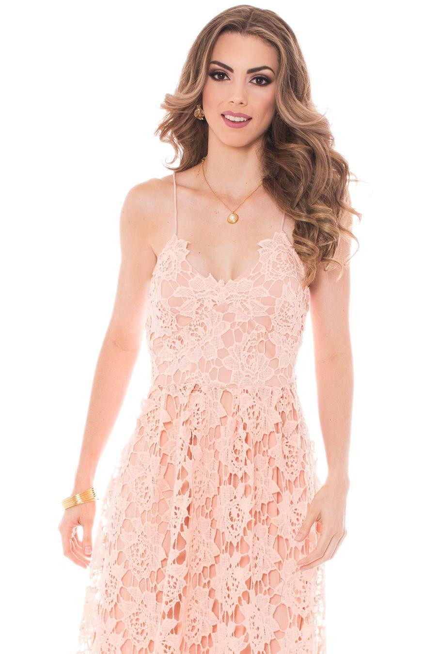 Vestido Isabella palo rosa con guipur, Vestidos y enterizos ...
