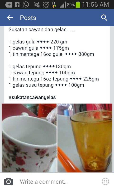 Sukatan cawan dan gelas | Measurements conversion chart ...