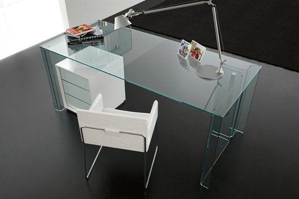 home office desk luminare scrivania by fiam italia - Modern Home Office Glass Desk