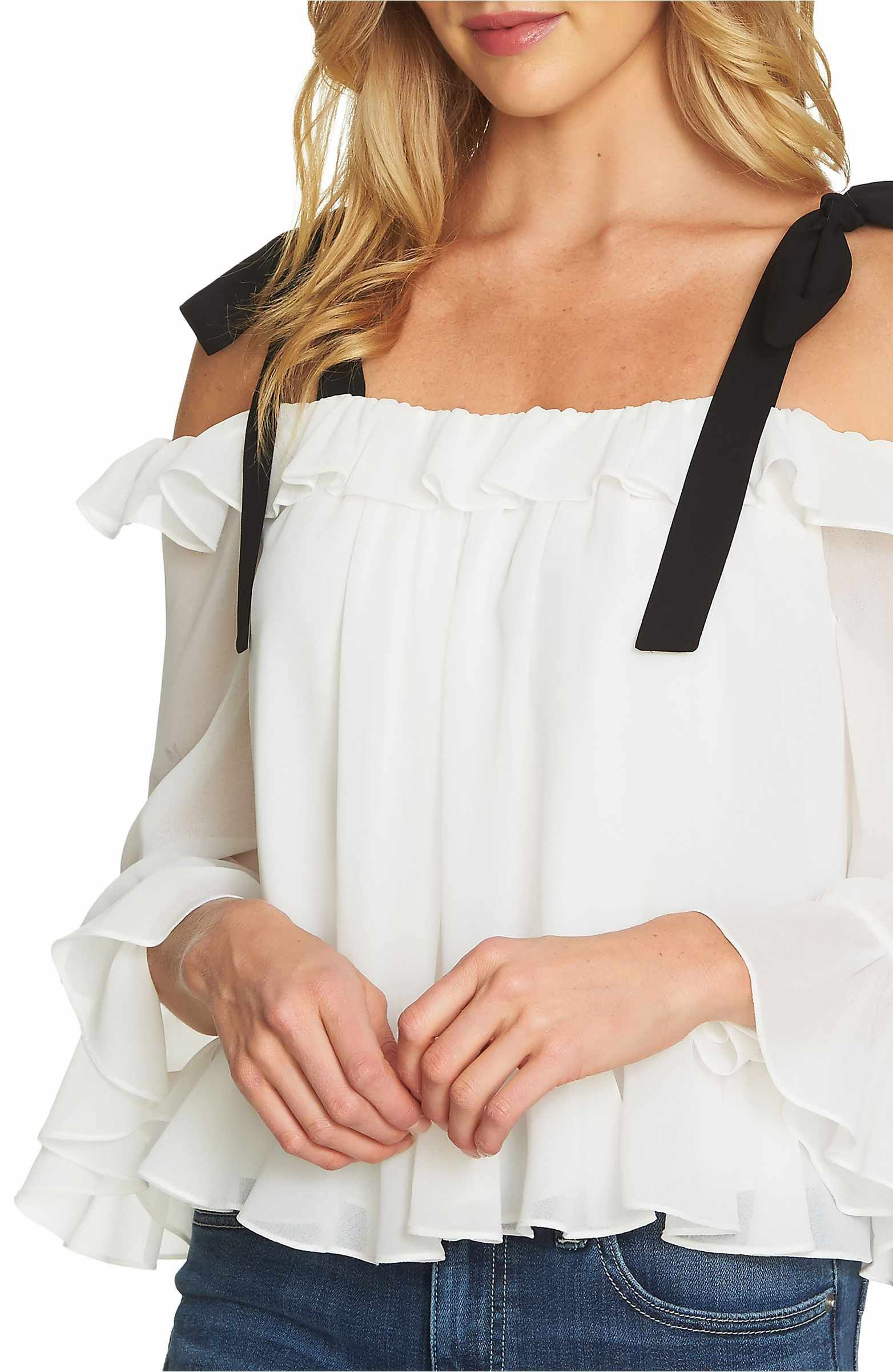 702f02680a6aca Main Image - CeCe Ruffled Tie-Shoulder Blouse | Clothes | Blouse ...