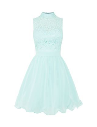 Mint Green (Green) Chi Chi Mint Green High Neck Lace Front Prom Dress   316351537   New Look