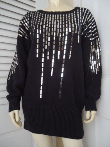 JAMES ST JOHN Vintage Retro 80's Ramie Cotton Pullover Sequin Sweater M Oversize Disco CHIC!