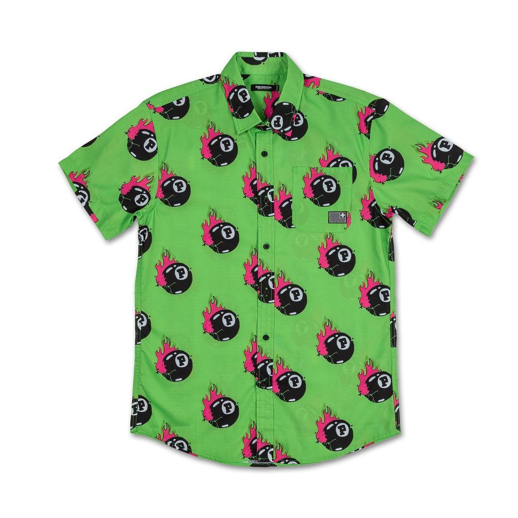 8ball flame button up in neon green neon green button