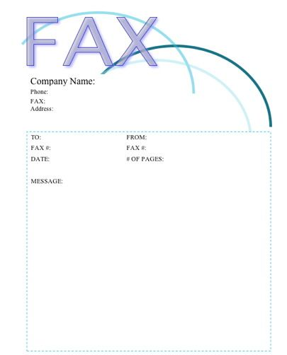 The top of this printable fax cover sheet is accented with - blank fax cover sheet