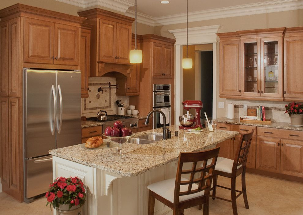 Light Color Granite Kitchen Traditional with Beige Kitchen