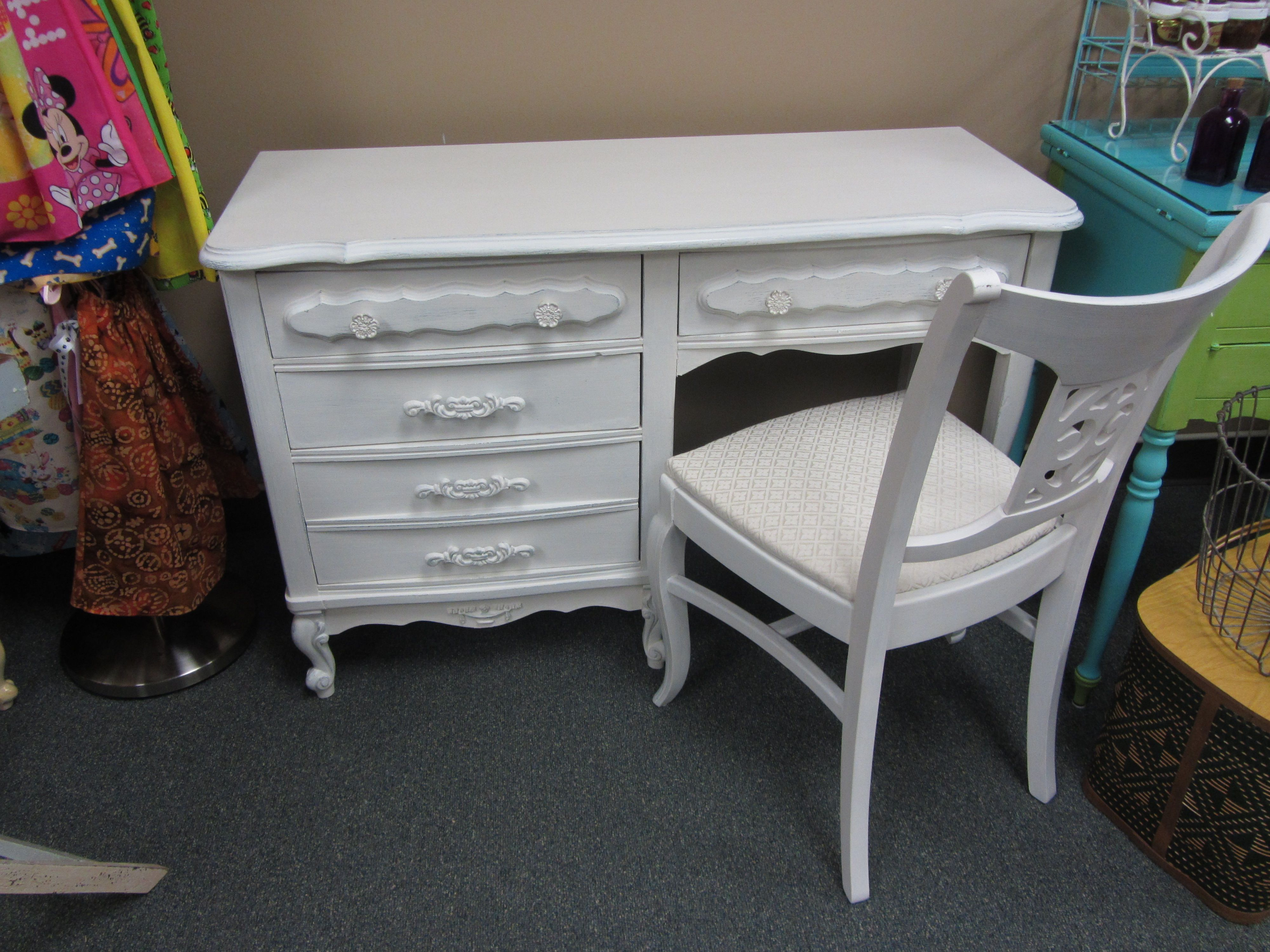 Another French Provincial Desk With Chair Painted In Mother Earth White Lace And Distressed Through To Calming Waters Sold Desk Chair Decor French Provincial