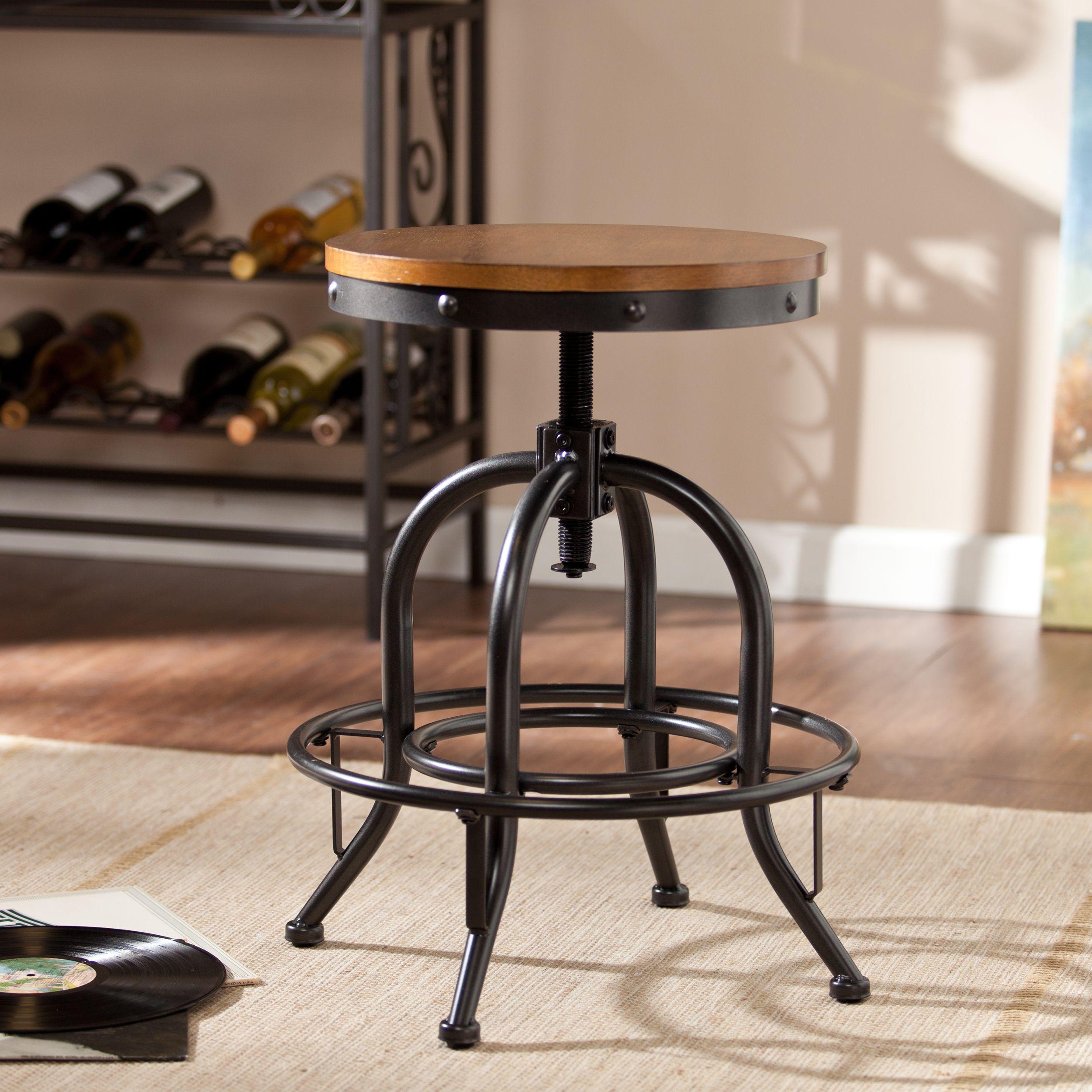 Carbon Loft Horstmann Dark Pine Black Industrial Style Adjustable Stool Os3542cb Iron Furniture Industrial Stool
