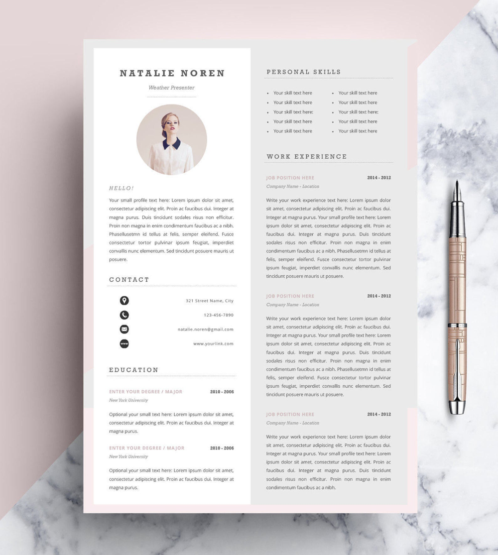 Professional Resume Template Cv Template Editable In Ms Word And Pages Instant Digital Download Size A4 And Us Letter Professioneller Lebenslauf Lebenslauf Lebenslauf Design