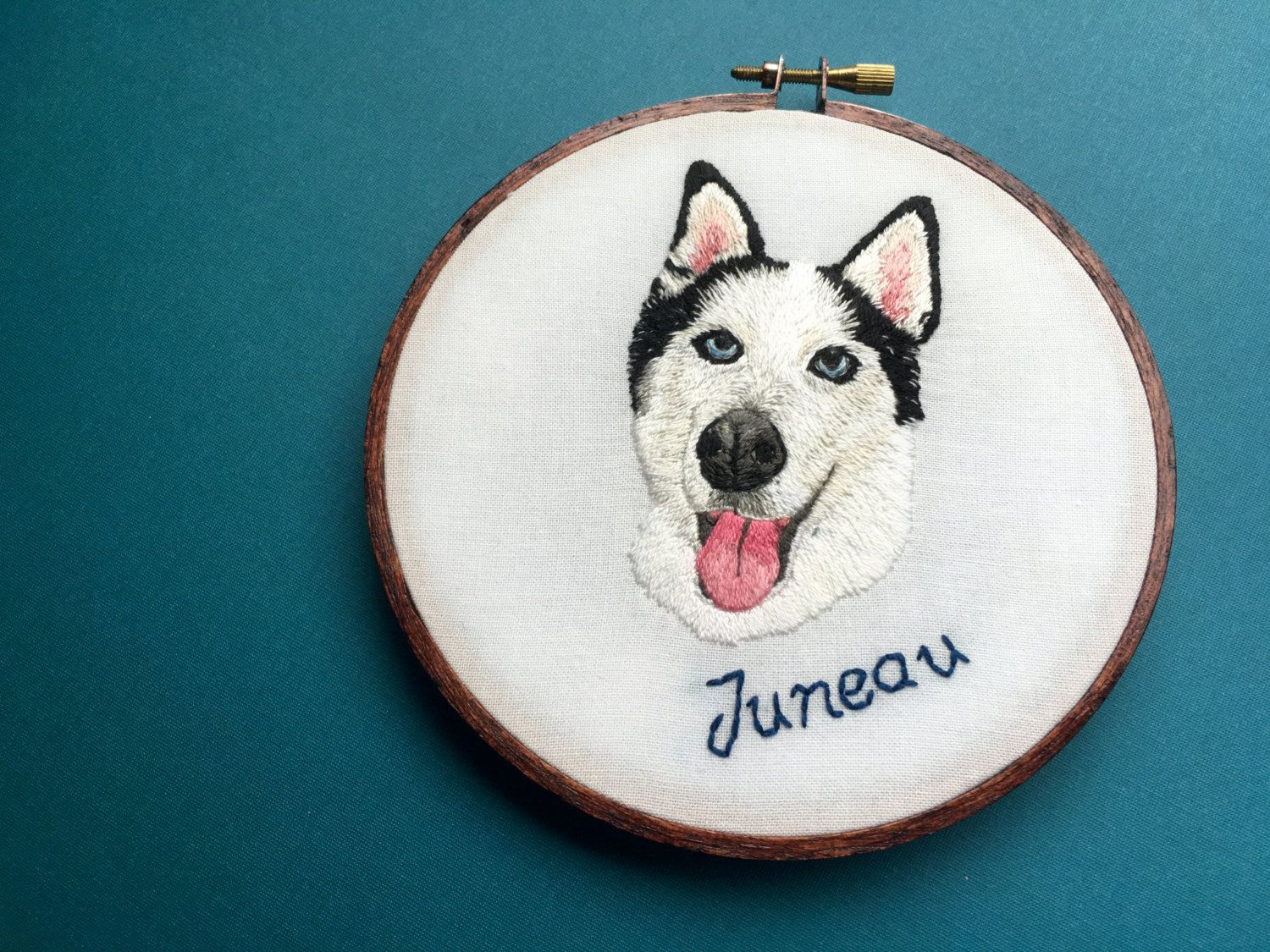 2c5f354f98fe Personalized Custom Pet Portrait, Hand Embroidered Hoop Art, Home Decor,  Embroidered, 6