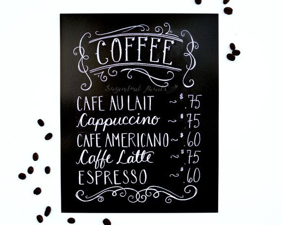 kaffee print kaffee men tafel sign kreide von sugarbirdprints diy pinterest tafel men. Black Bedroom Furniture Sets. Home Design Ideas