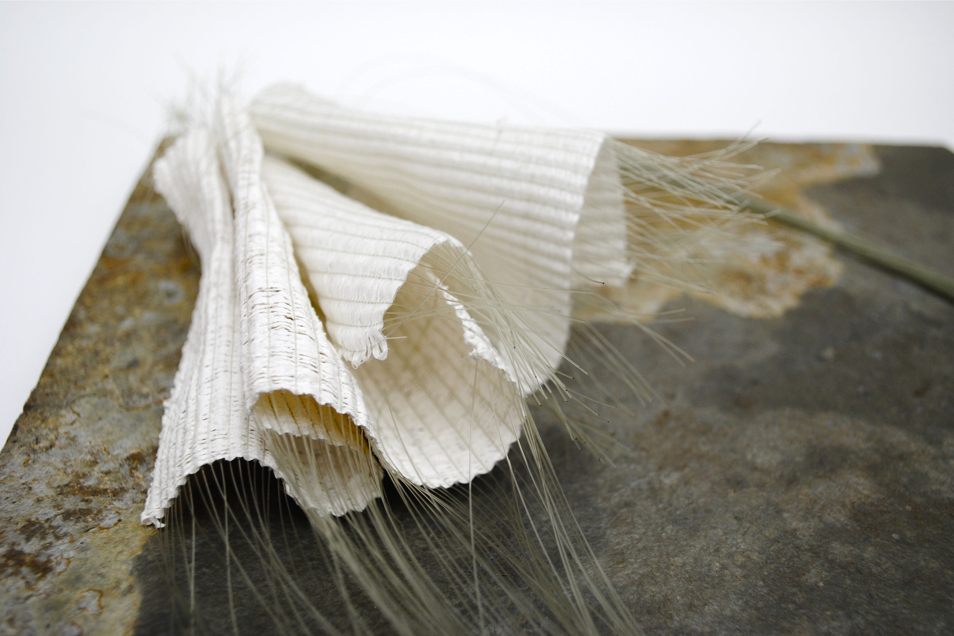 Collecting Gestures (detail) 2014 woven tapestry object, nylon wire warp, japanese paper, silk, antara cos-ahmet.co.uk