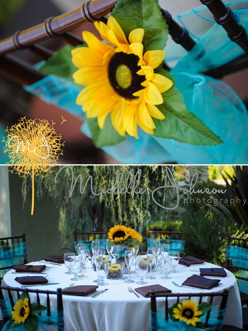 Sunflowers And Turquoise Reception Wedding Photography By
