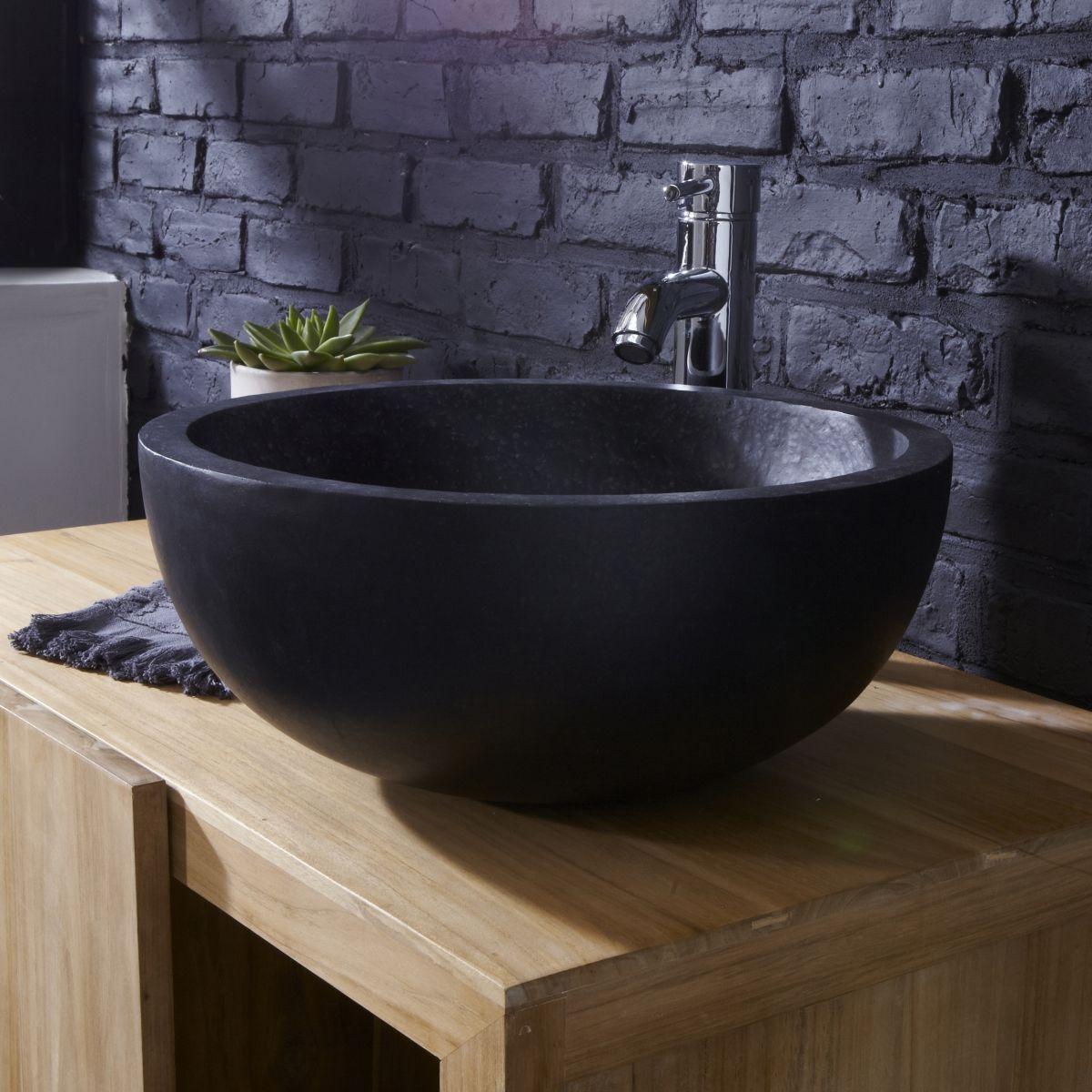 Aufsatzwaschbecken Waschbecken Terrazzo Schwarz Badezimmer Rund 40 Cm  Designu2026
