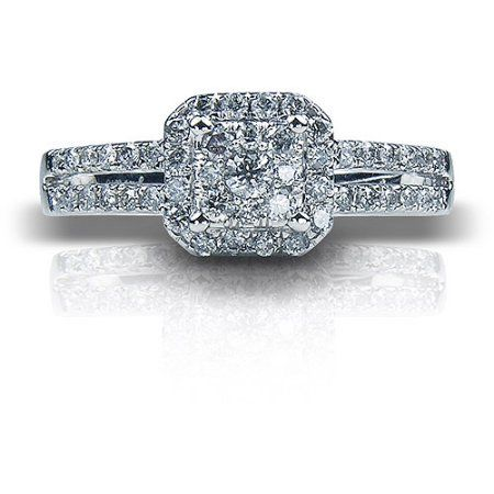 12 Carat TW Cushion Diamond 10kt White Gold Engagement Ring