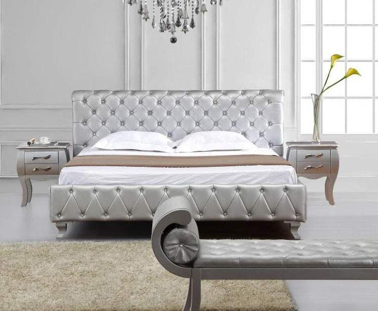1616 Queen Tufted Silver Leather All