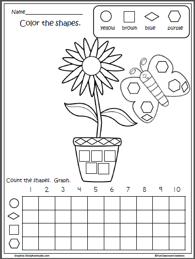 Free Spring Shapes Graph for Kindergarten   Kindergarten