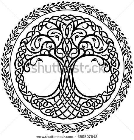 Vector Ornament, Decorative Celtic Tree Of Life With Floral Round Border