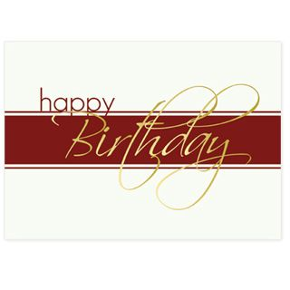 Gold Script Business Birthday Card