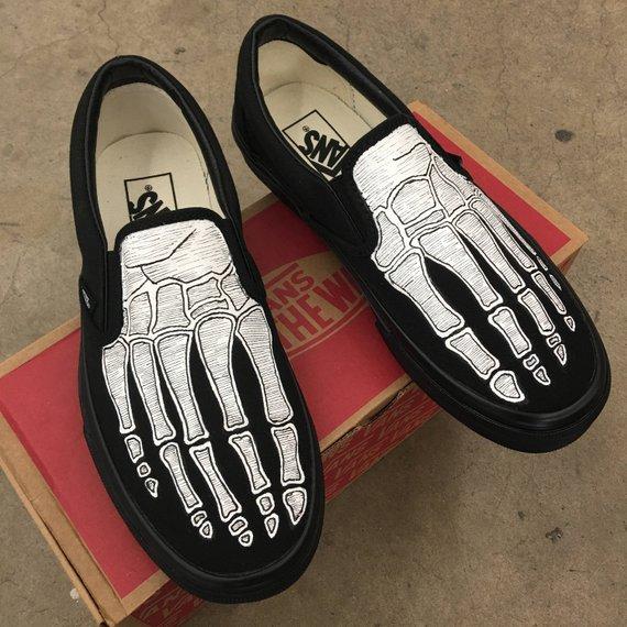 9411adfe14 Custom Hand Painted Skeleton Feet Vans in 2019
