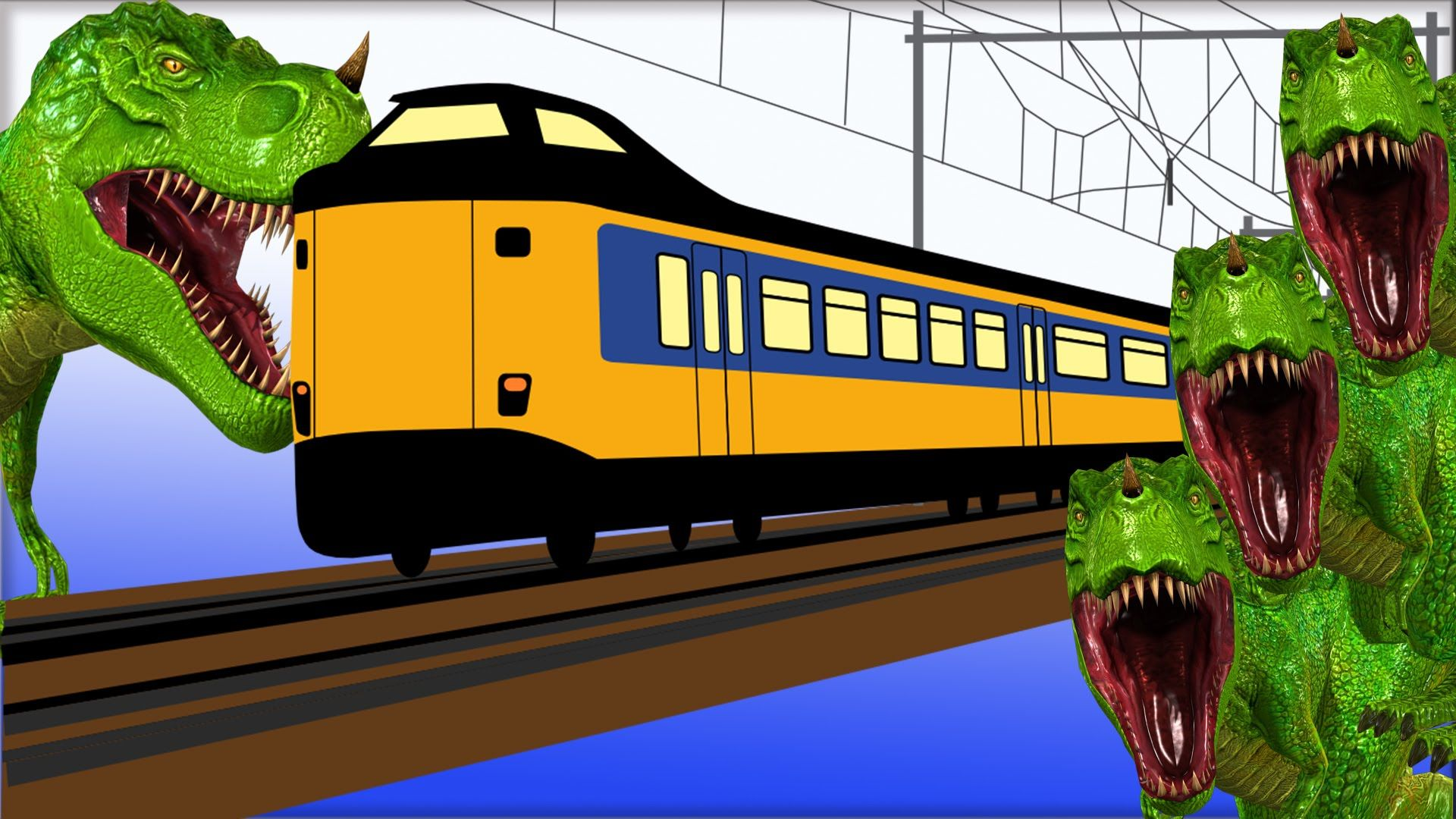 Finger family rhyme dinosaur stops the train by throwing