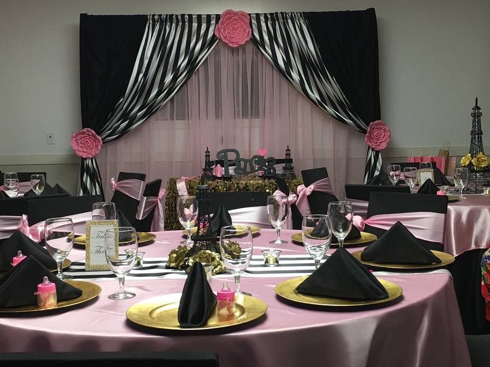 Paris Theme Baby Shower Pink Gold Black And White Paris Baby