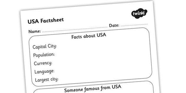 Usa Factsheet Writing Template Usa United States Of America