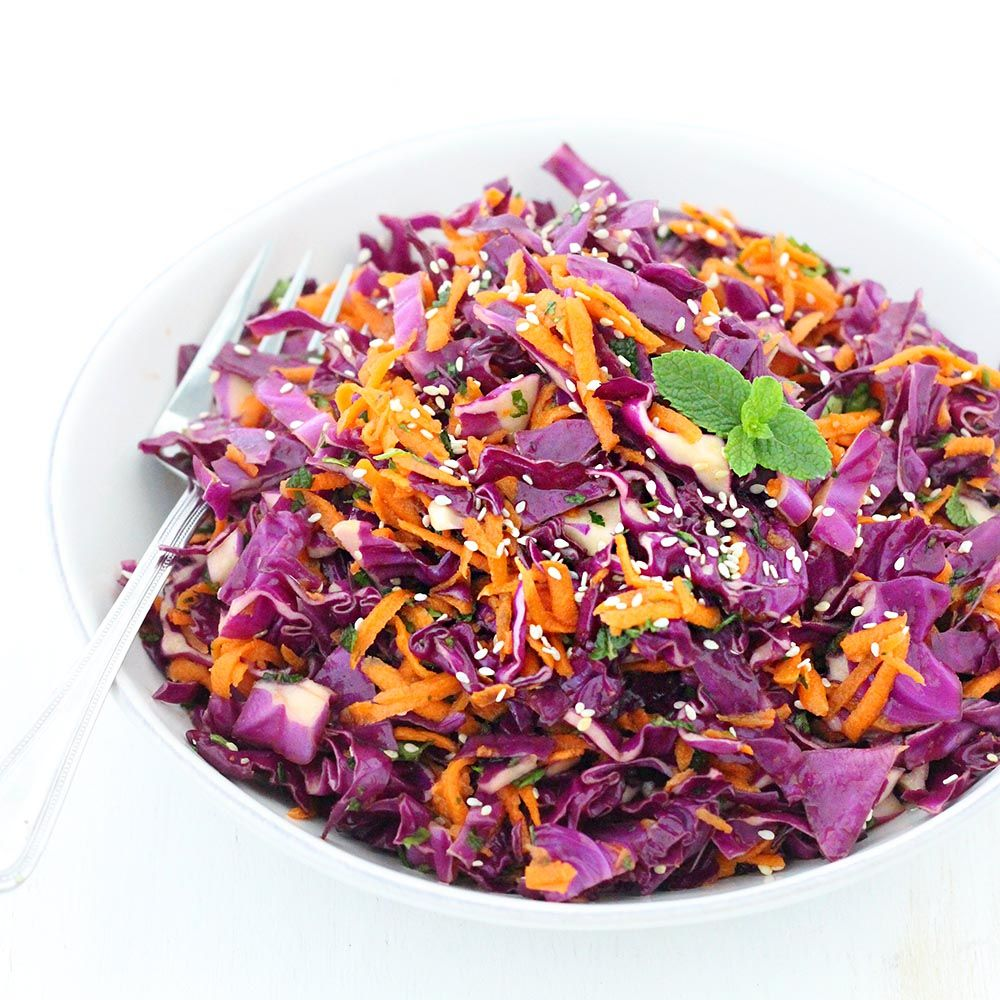Thai Sesame Red Cabbage And Carrot Salad Recipe Carrot Salad Carrot Salad Recipes Red Cabbage Salad