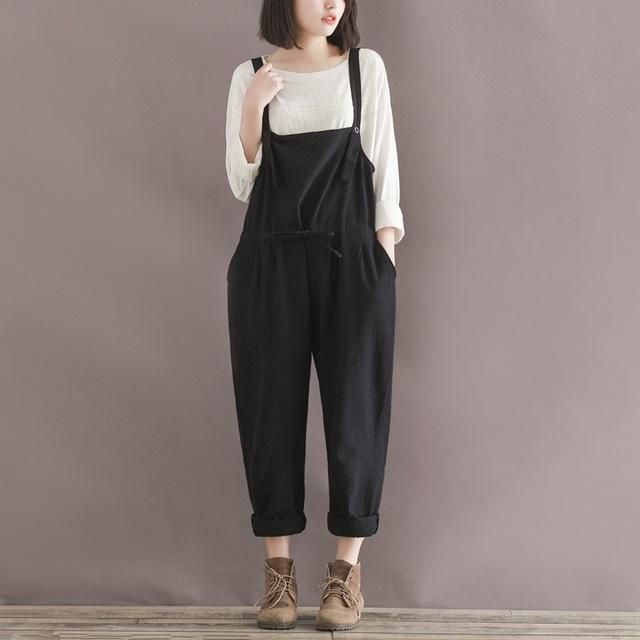 858ef1ce65479 Plus Size Casual Black Cotton Linen Overalls Pants Women Students Wide Leg Harem  Rompers Pants Pantalone Femme 2017 New Trousers