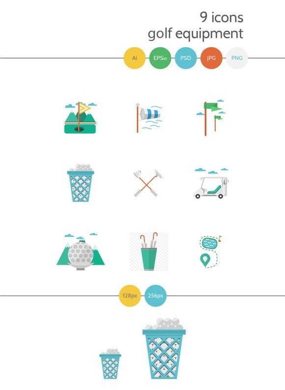 Golf Flat Vector Icons Part 3 Icon Vector Icons Color