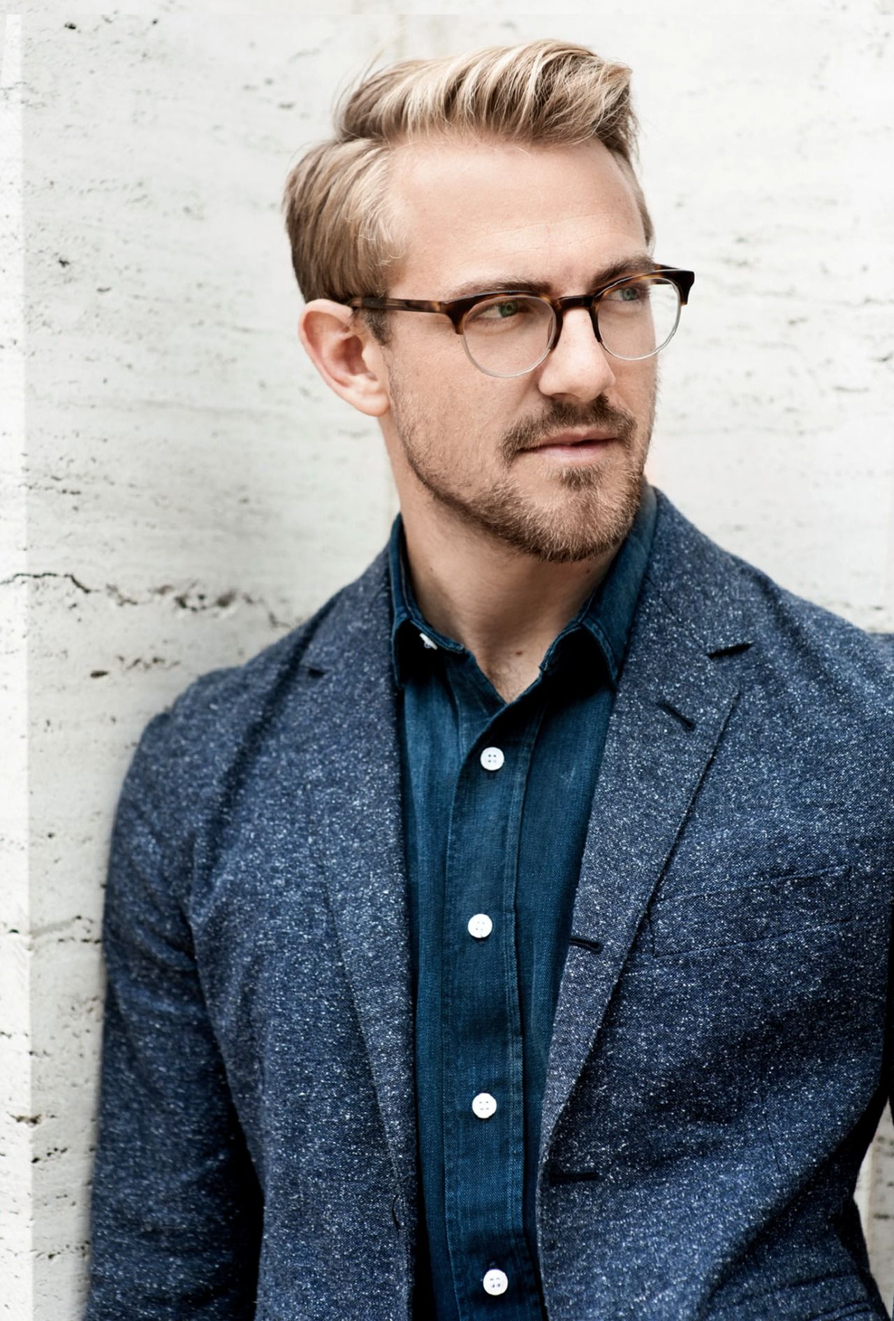 Haircuts for men with glasses blonde on midnight blue  style  pinterest  man style dapper and