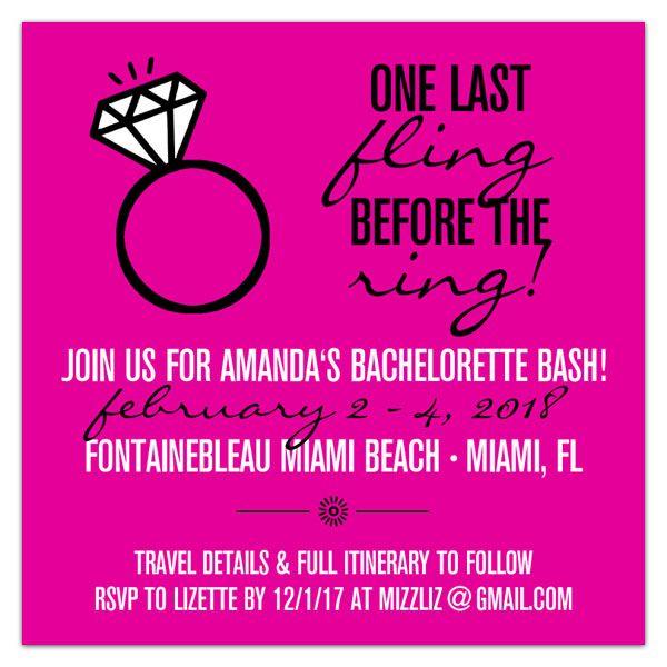 Diamond Bling Ring Bachelorette Invitations | Bachelorette Party | Bachelorette Weekend | PaperStyle.com