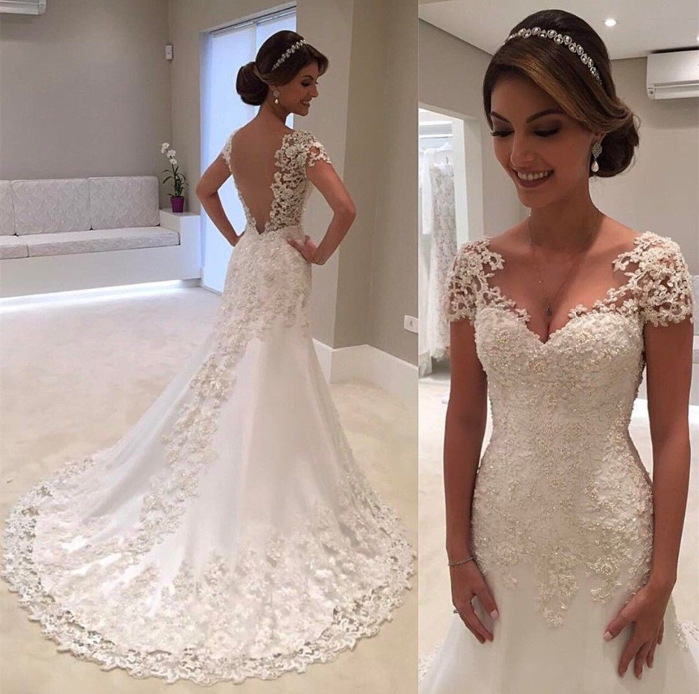 White backless lace mermaid wedding dress vneck short sleeve