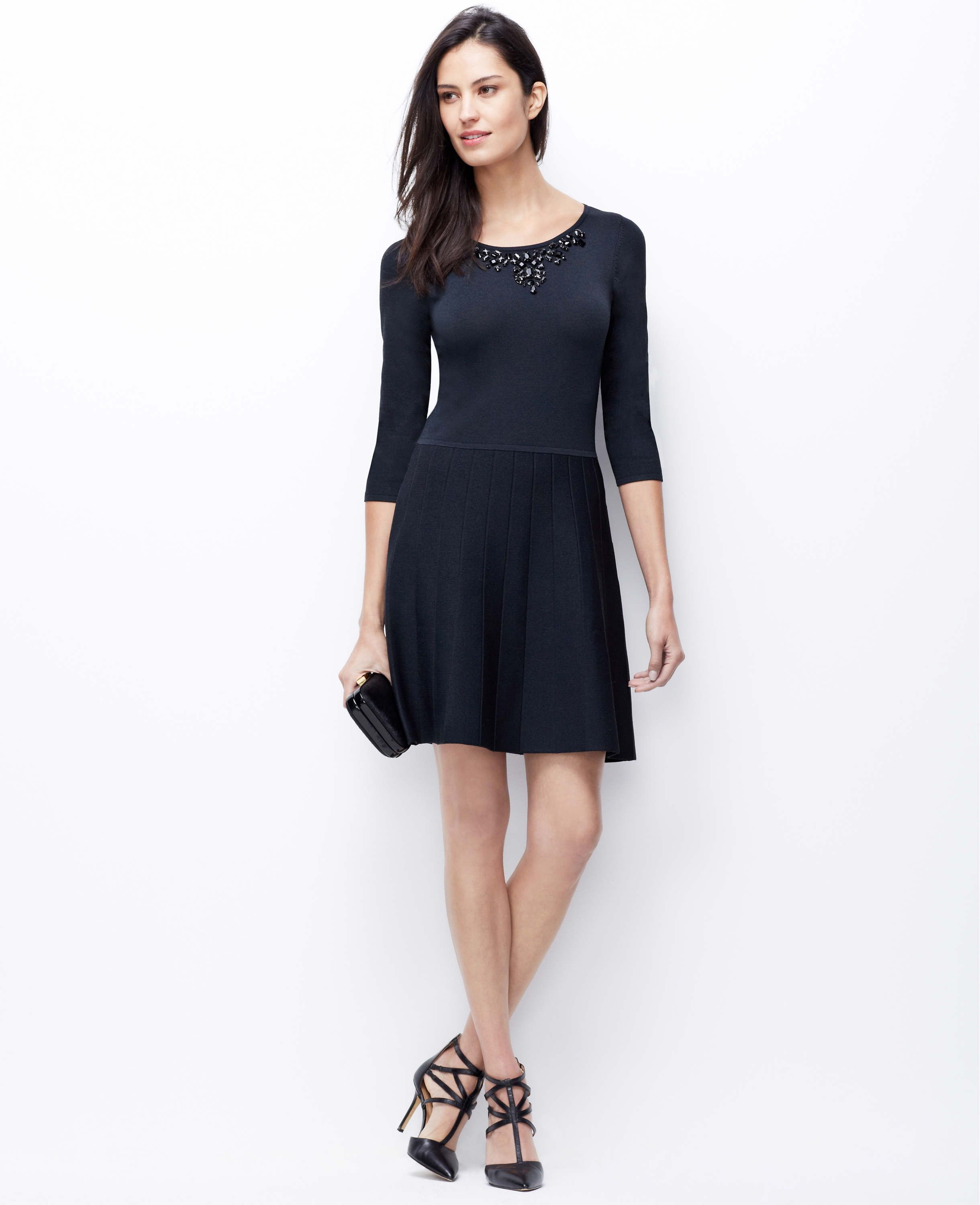 a8c80cf467b Embellished Flare Sweater Dress