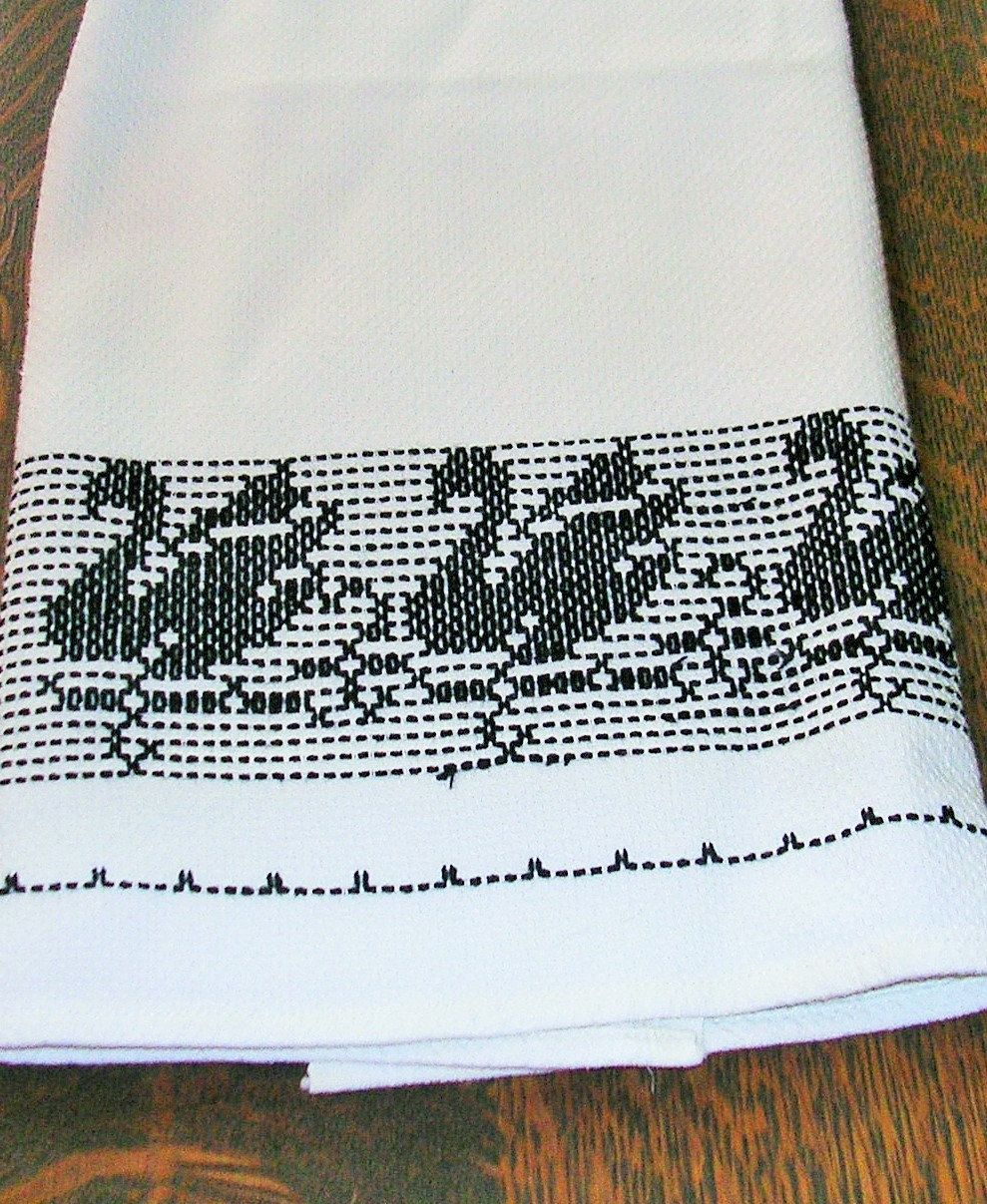 https://www.etsy.com/listing/227154877/vintage-huck-towel-with-black ...