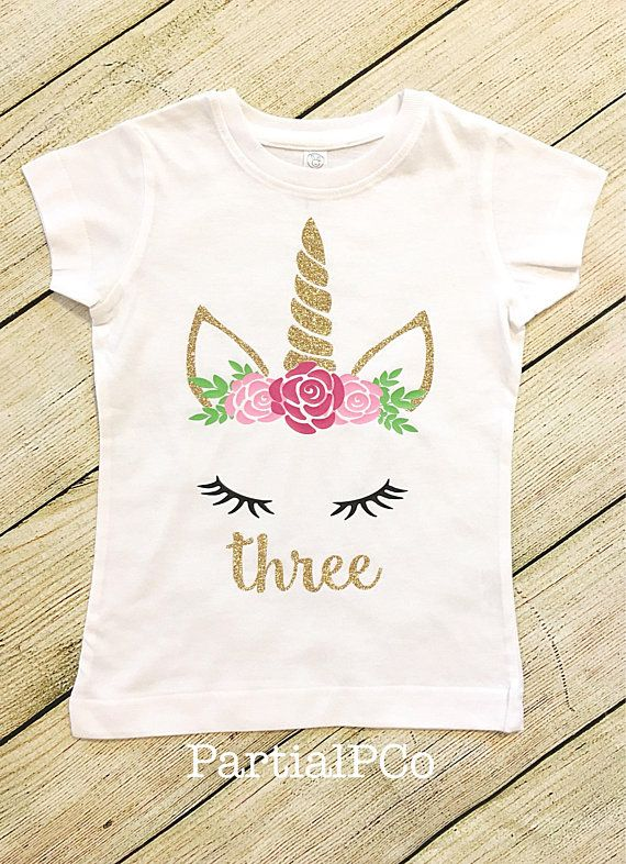 a8b551993 Girl's Unicorn Birthday Shirt | gold and pink | glitter | personalized |  two | three