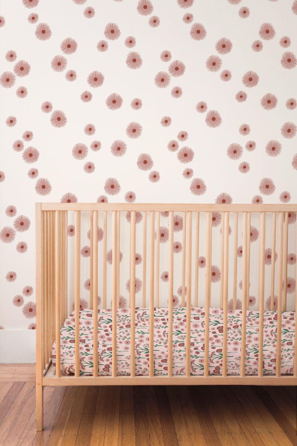 Daisy removable wallpaper pink (English Afternoon