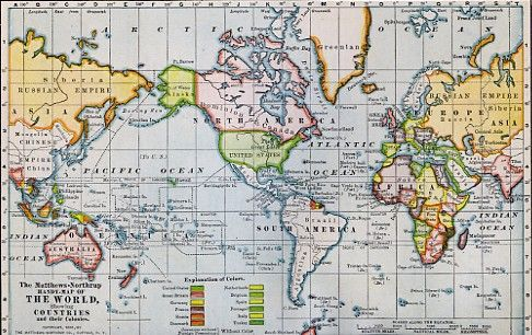 WORLD MAP 5X7 | 8x10 Print Map The World in 1898 by timefreeze on