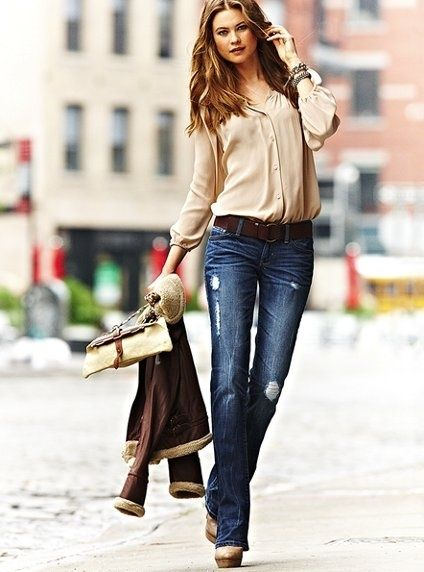 long sleeve light-weight blouse ripped flare jeans wedges belt  ...