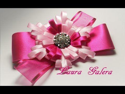 Moño con flor en cinta angosta Ribbon flower bow Laço de fita Детские Банты !! #ribbonflower