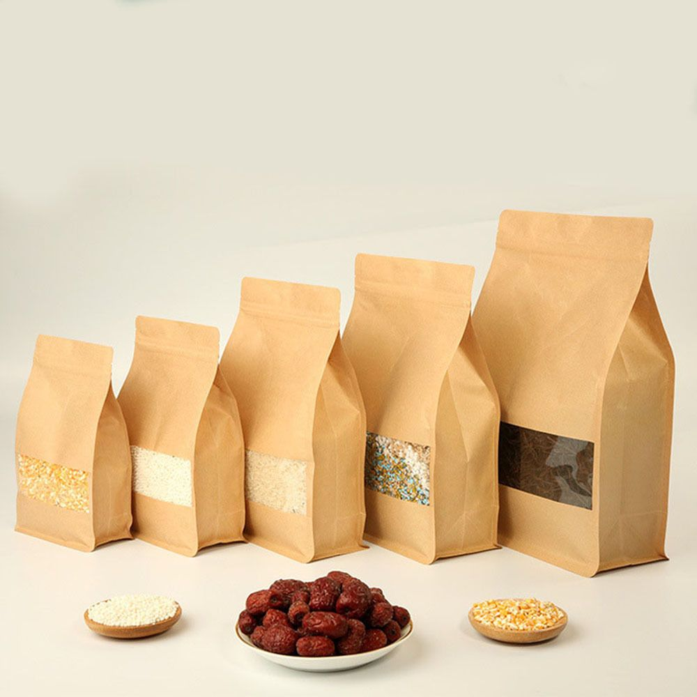 Resealable Kraft Paper Zip Bags Food Grade Lock Pouch Storage With Clear Window