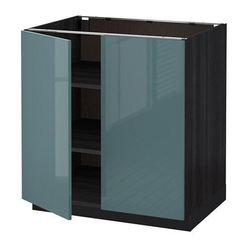 metod l ment bas tablette 2portes effet bois noir kallarp brillant gris turquoise 80x60 cm. Black Bedroom Furniture Sets. Home Design Ideas